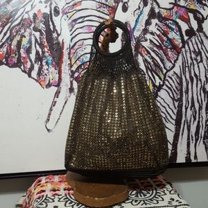 NEW! GAP GOLD SEQUIN & BROWN KNIT BAG!